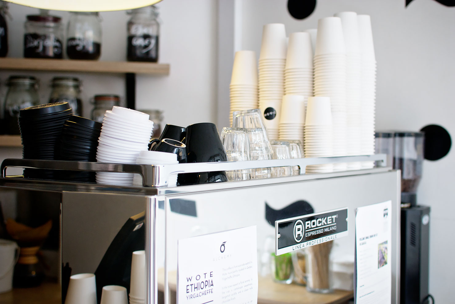 Interior and coffee machine at Drink, Shop & Dash - a new specialty coffee bar in King