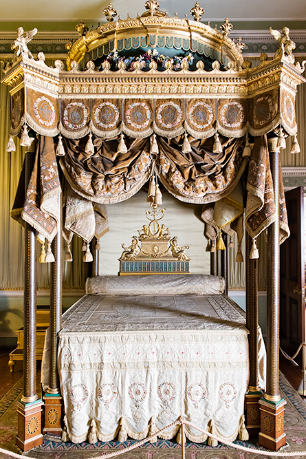 The bedroom at Osterley Park, an 18th century historic mansion in London.